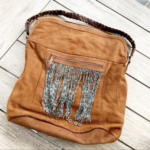 FREE PEOPLE Beaded Leather Bucket Zip Top Bag